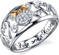 Disney Two Tone Sterling Silver 1/10 ctw Diamond Love and ...