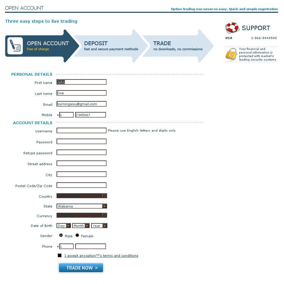 Binary options dummy account