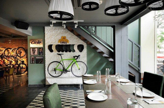 The cycle theme interiors of Ciclo Cafe