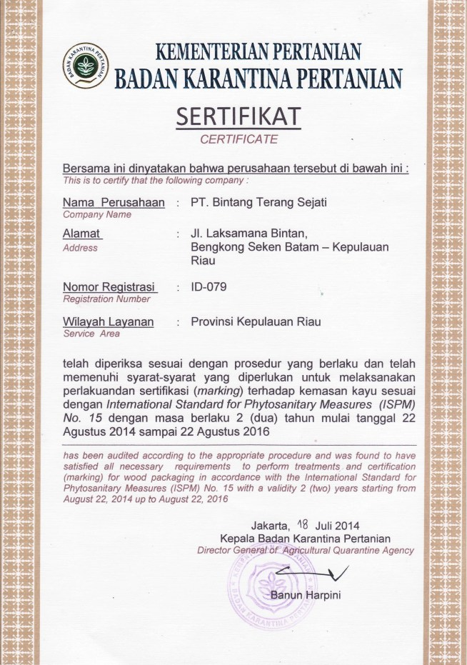 ISPM 15 Certification - ID 079