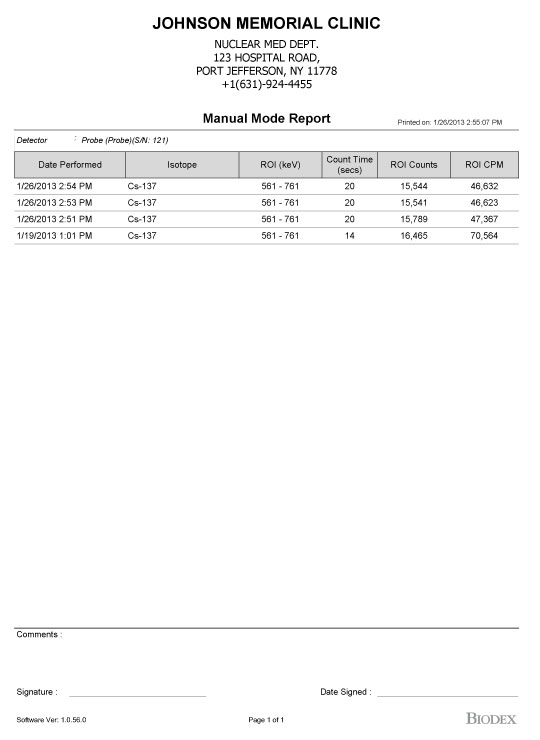 Sample Reports - - Thyroid Uptake System - Nuclear Medicine Biodex