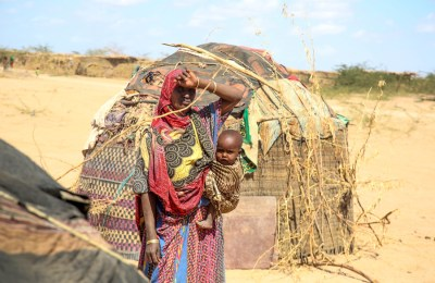 Beriso Asowe and child, Bislie IDP center, Siti region, Ethiopia.