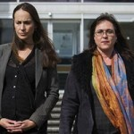 Greenpeace activists Jessica Latona and Heather McCabe leaving the ACT Supreme Court at an earlier hearing. Photo by Rohan Thomson, Canberra Times.