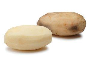 Innate Potato next to a conventional one