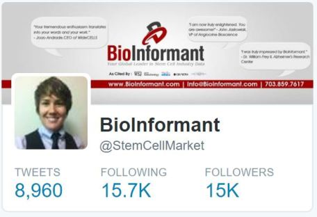 Fastest growing stem cell accounts on Twitter (@StemCellMarket)