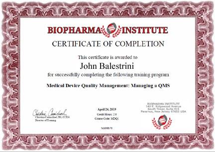 Sample BioPharma Institute Certificate \u2013 BioPharma Institute