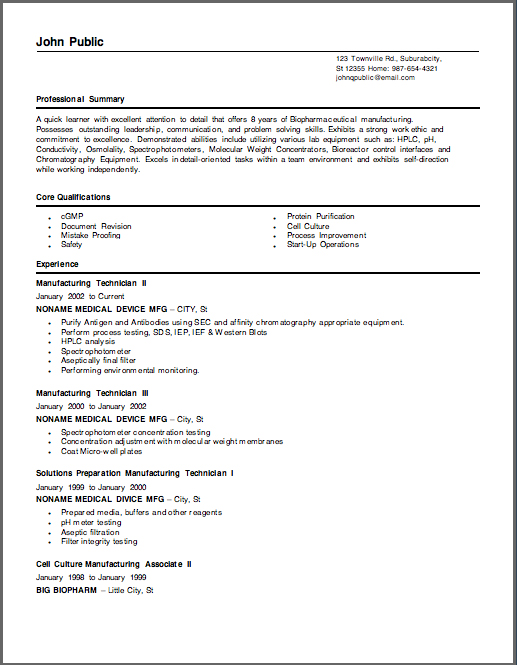 Sample Biotech Manufacturing Resumes - sample resume manufacturing