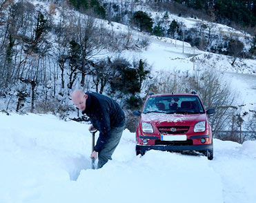 Digging in the snow to get to the Lammergeier.