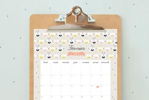 calendrier Zu à imprimer