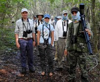 On a hike through Refugio de Fauna Bermejas - BirdsCaribbean headwear not only looks good but it is very useful against mosquitoes - modeled here in the Bermejas Refuge! (Photo by Erika Gates)