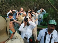 Wildlife watchers enjoying the tour in Caroni Swamp. (Photo by Lisa Sorenson)