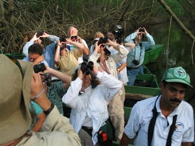 Wildlife watchers enjoying the tour in Caroni Swamp. (Photo by Lisa Sorenson)