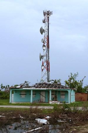 Damaged communications building on Barbuda. (Photo by Anthony Levesque)