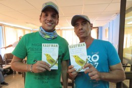 Alejandro and Carlos happy to receive new Kaufman Field Guides. (photo by Lisa Sorenson)