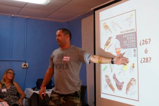 Maikel talks about bird diversity and conservation threats in Cuba. (photo by Lisa Sorenson)