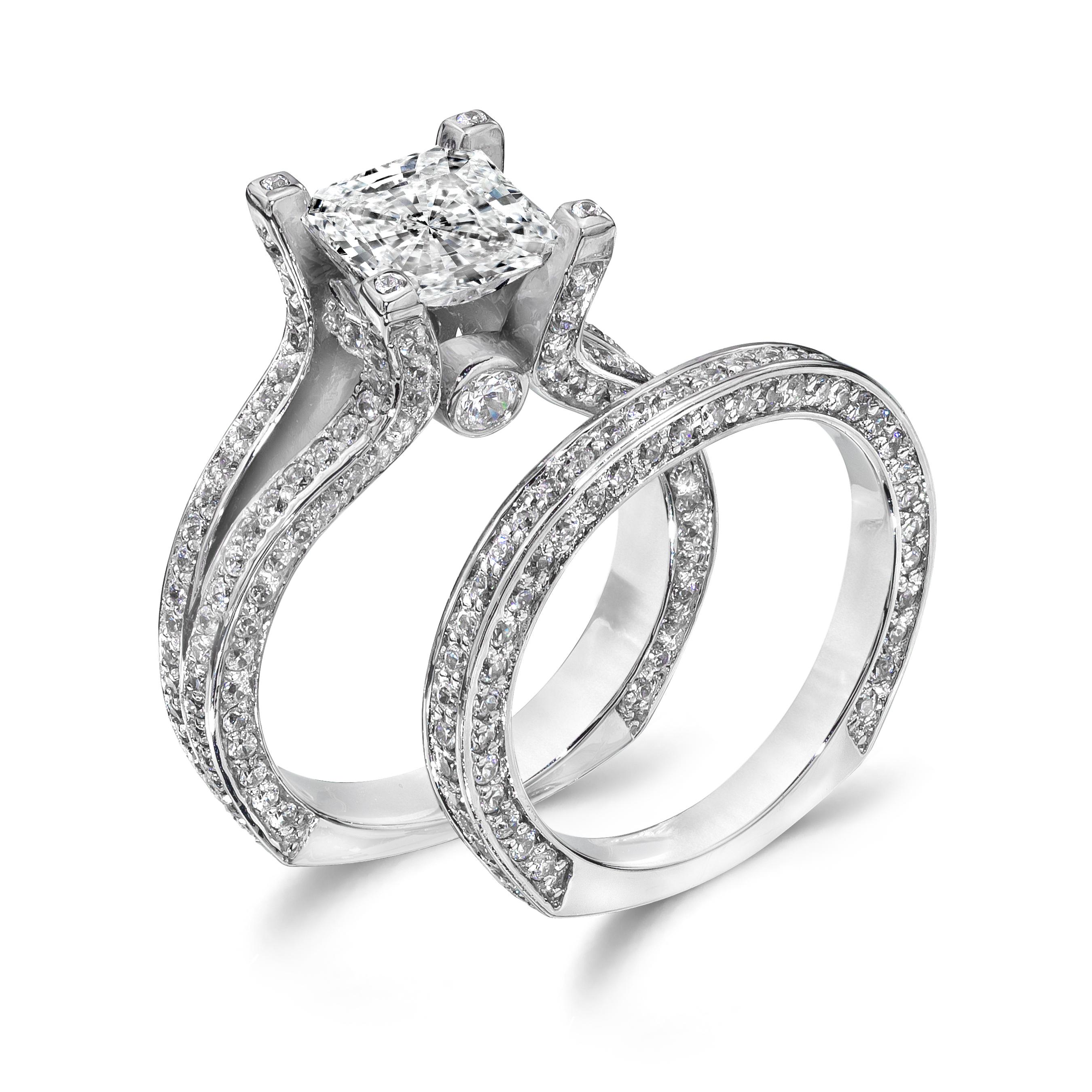 a closer look at our princess cut 2 0 carat cz wedding ring set cz wedding band