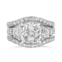 Cubic Zirconia Rings | 3.5 Ct. Cushion Cut 14K Wedding Set ...