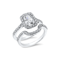 Oval Cushion 1.5 Carat, 14K Wedding Ring Set