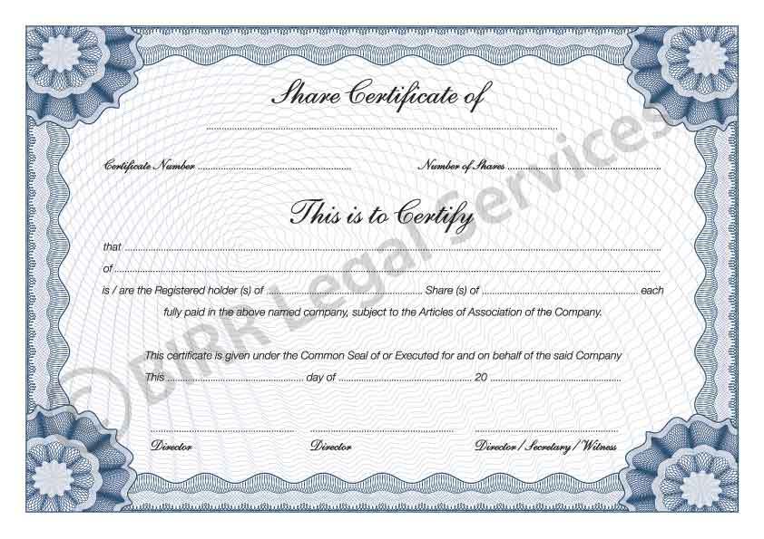 Share Certificates BIRR Legal Services Company Formation Experts - Company Share Certificates