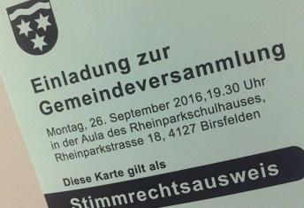 Einladungskarte zur Gemeindeversammlung