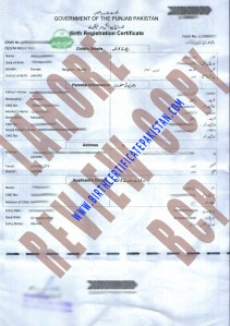 Sample Birth Certificate Lahore Punjab Pakistan