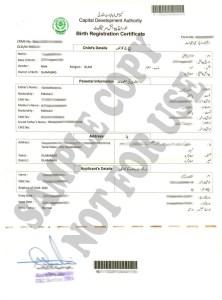 Islamabad Birth Certificate Sample