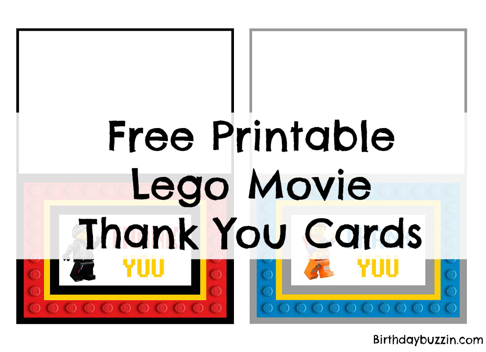 Free Printable Lego Movie thank You cards Birthday Buzzin