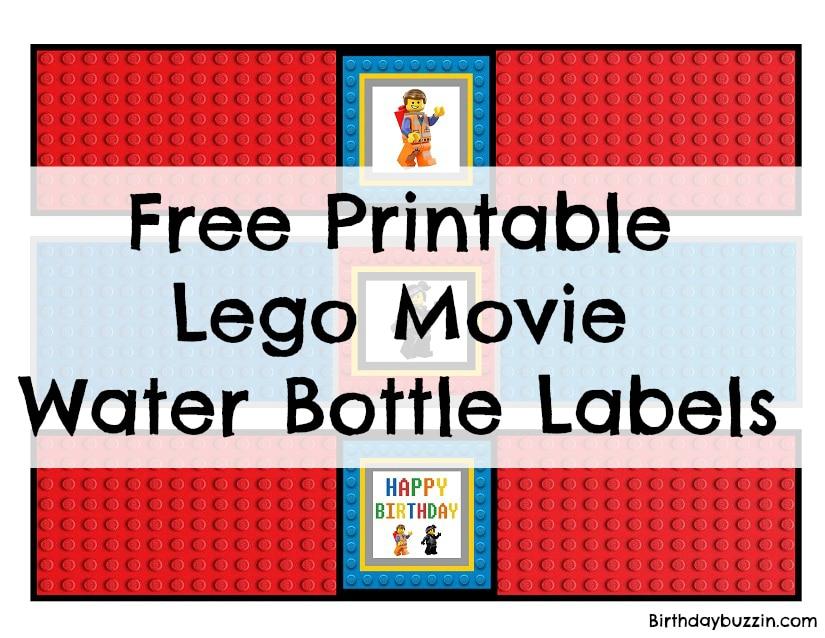 Free printable Lego Movie Water Bottle Labels Birthday Buzzin