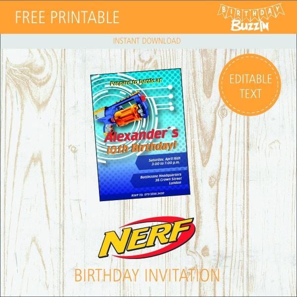 Free Printable Nerf Birthday Invitations Birthday Buzzin