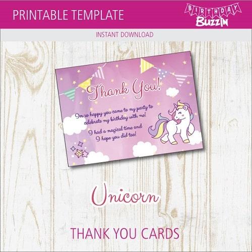 Free Printable Rainbow Unicorn Thank You Cards Birthday Buzzin