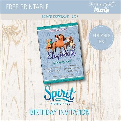 Free Printable Spirit Riding Free Birthday Party Invitations