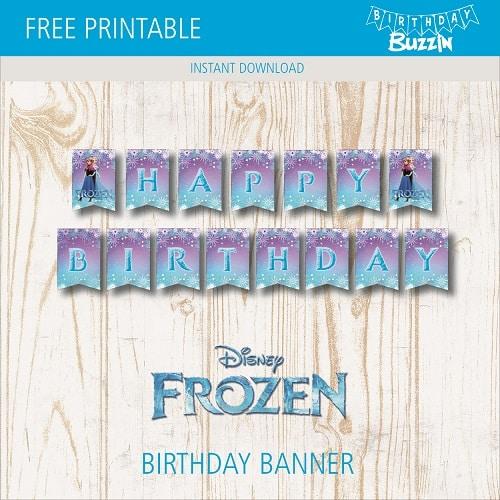Free Printable Frozen Birthday Banner Birthday Buzzin