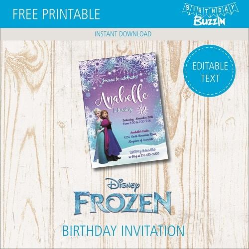 Free Printable Frozen Birthday party Invitations Birthday Buzzin