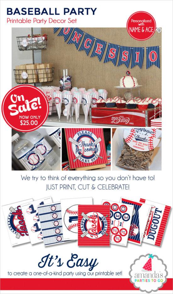 Baseball Birthday Baseball Party Printable