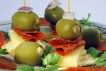 cracker with Cheese, olives and pepperoni