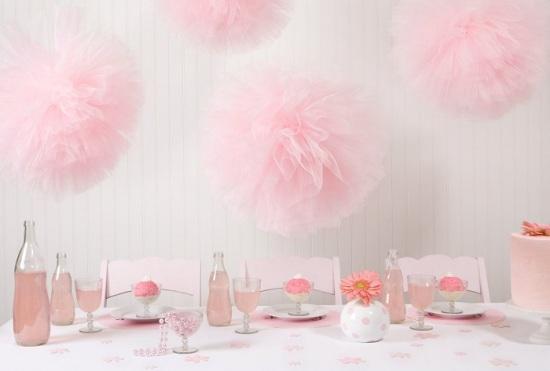 pink-tulle-pom-poms-party supplies