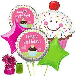 Cupcake Birthday Party Ideas decorations pinata balloons centerpiece