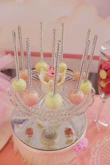 Bling Princess First Birthday Party cake pops