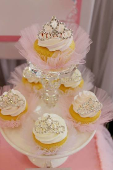 Bling Princess First Birthday Party cupcakes with tiaras
