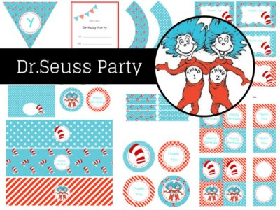 Dr Seuss Birthday, Dr Seuss Party, Party Printables, Thing 1 Thing 2, Dr Seuss Party Pack