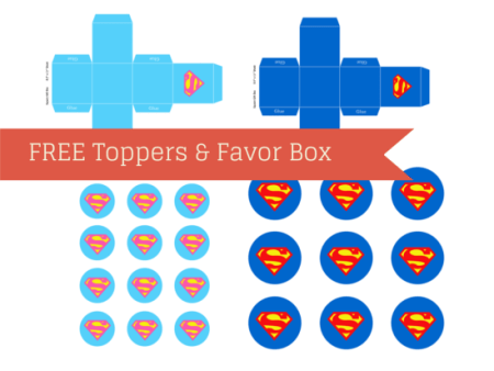 Free Superman Supergirl Cupcake Toppers and Favor box