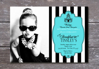 Printable Breakfast at Tiffany's Birthday Party Invitation