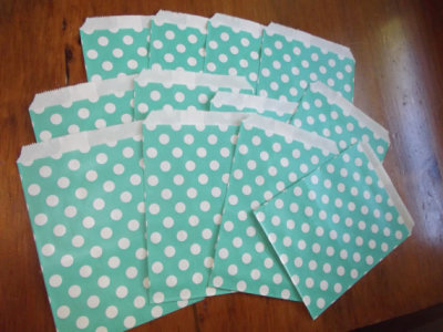 Tiffany Blue Polka Dot Snack Favor Treat Candy Party Bags