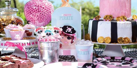 pretty pink Ahoy Pirate Party Supplies