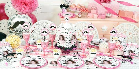 pink Mustache Birthday Party Ideas