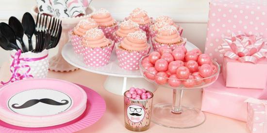 pink girl Mustache Birthday Party Ideas