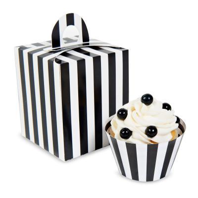Black & White Striped Cupcake Boxes