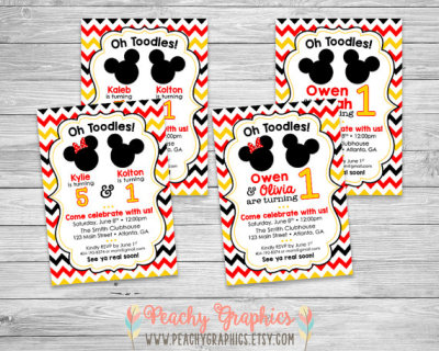 Double Disney Mickey Minnie Printable Birthday Party Invitation Twins Brother Sister Boy Girl Cousin Best Friend