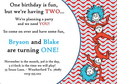 Dr. Seuss  Thing One Thing Two Twins Birthday Invitation