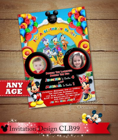 Mickey Minnie Twins Birthday Invitation, Twins Siblings Clubhouse Mickey Minnie Invitations